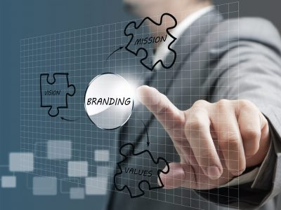 business man hand point to branding diagram